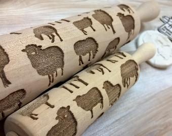 Rolling Pin Wooden Laser Cut Stylish Sheeps, Rams Pattern Embossing