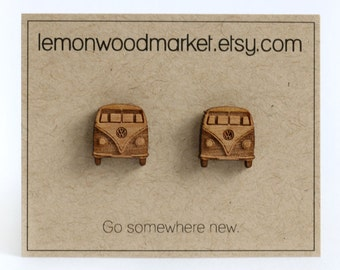 VW Bus Earrings - alder laser cut wood stud earrings
