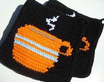 Orange Coffee Cup Potholders, Coffee Pot Holders, Crochet Potholders, Crocheted Potholders, Pot Holders MADE TO ORDER