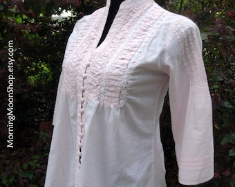 Vintage Boho PINK COTTON TOP, Hippie Peasant blouse, Festival shirt, buttons pintucking crochet lace, bell sleeves, retro Bohemian summer