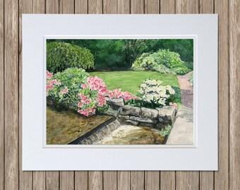 Asticou Azalea Garden Art - Original Paintings - Northeast Harbor Maine - Spring's Promise - Azaleas, Rhododendron, Stream, Watercolor Art