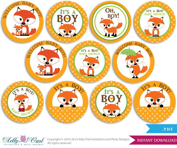Twins Fox Owl Cupcake Toppers For Baby Shower Printable Diy