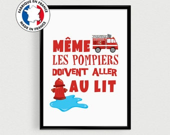 "Fire poster for child's room, baby, nursery or baby shower - ""even fire..."" - inspirational in french"