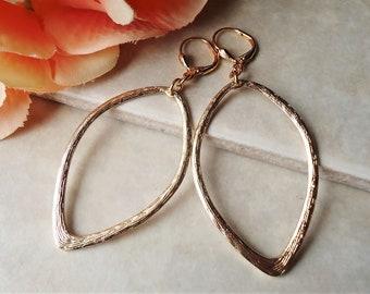 Hammered Hoop Earrings.Metal Earrings.Oval Drop.XL Hoop.Gold.Bridal.Statement.Big Earrings.Dangle.Bohemian.Modern.Minimalist.Gift.Handmade.