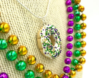 King Cake / Mardi Gras / Necklace / New Orleans / NOLA / Louisiana / Parade / Carnival / Miniature / Food Jewelry / Polymer Clay