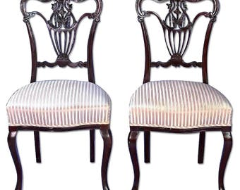 Pair 2 French Style Carved Side Accent Chairs Arm Sofa Dining Antique Vintage