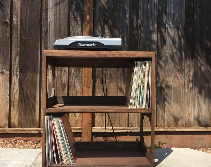 Featured listing image: Two Row Vinyl Record Storage Shelf // Display // Protect // Enjoy // your collection of 12 vinyl records  SOLID WOOD