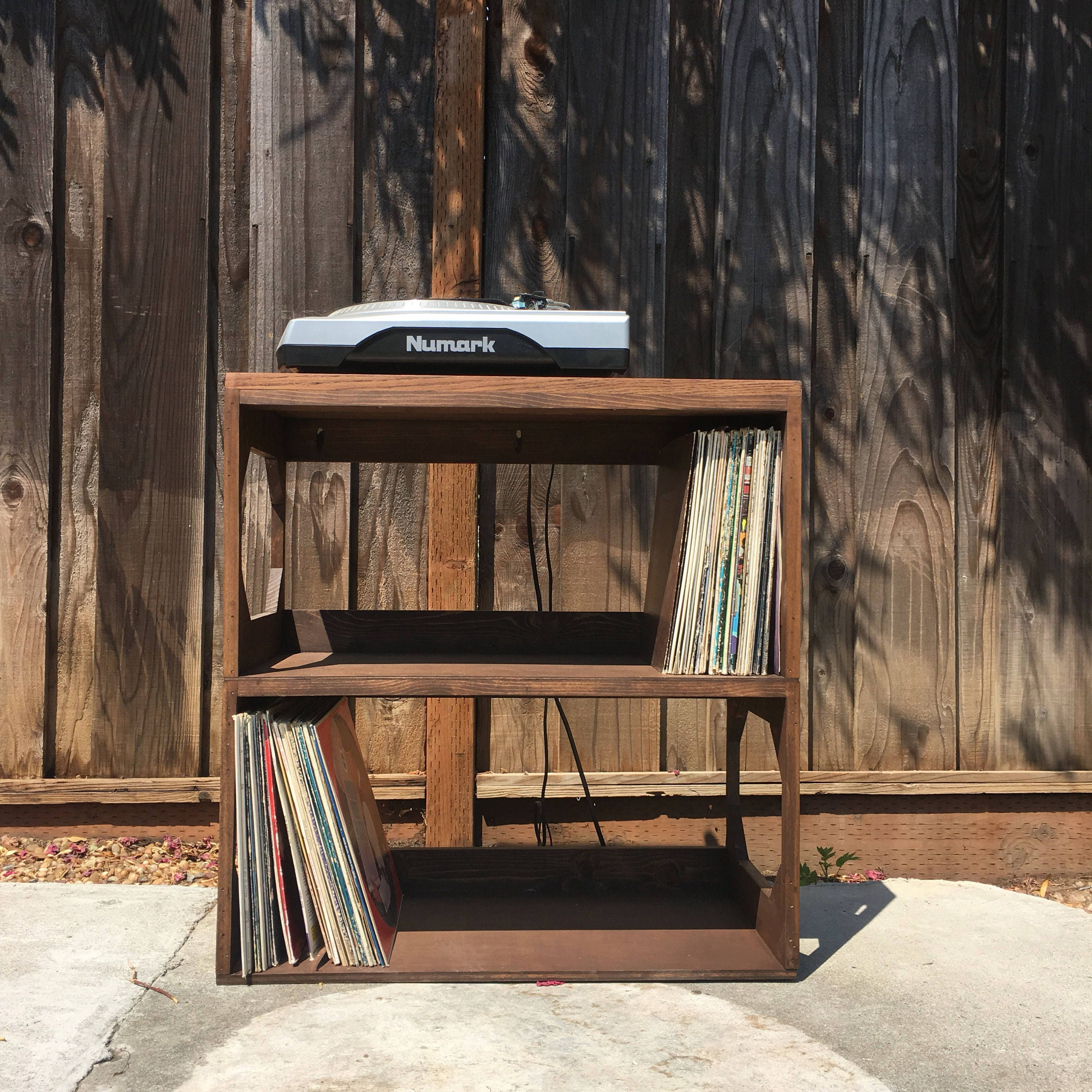 vinyl record furniture. Two Row Vinyl Record Storage Shelf // Display Protect Enjoy Your Collection Of 12 Records SOLID WOOD Furniture