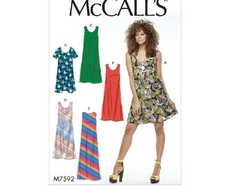 McCall's 7592/M0542 - Pullover Bias-Cut Tank and Short-Sleeve Dresses