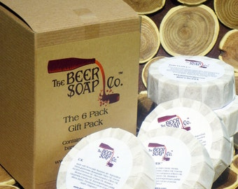 Gift Boxed Beer Soap Six Pack  - Grab any 6 bars of our beer Soap - Pick any 6 of our 125 varieties