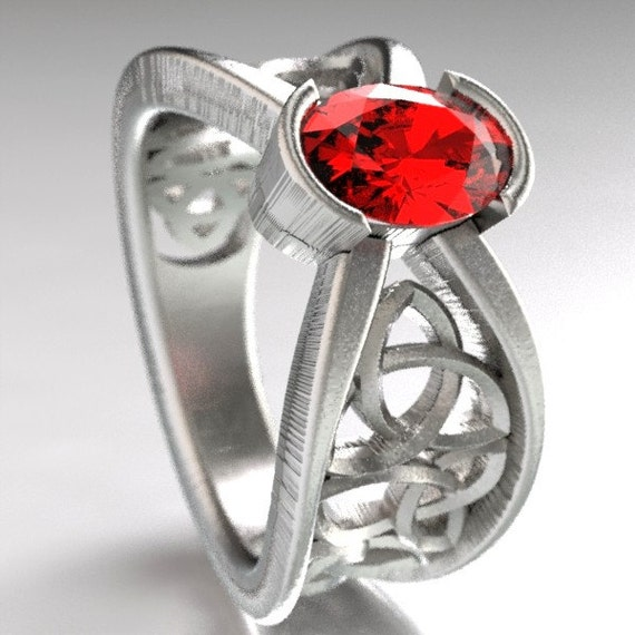 Celtic Wedding Ring With Ruby and Trinity Knotwork Design in Sterling Silver, Made in Your Size CR-1023