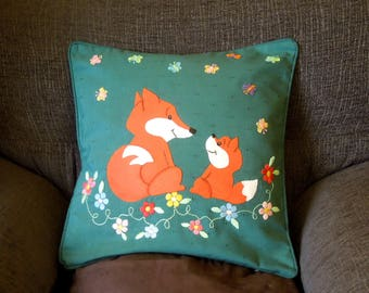 "Fox pillow, cushion cover ""Two Foxes"" handmade, applique, animal"