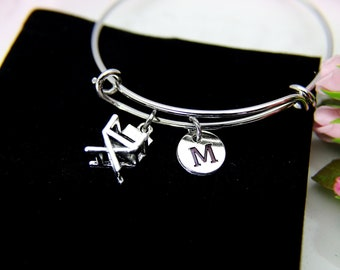 Director Chair Charm Bracelet, Director Chair Charm Bangle, Director Chair Charm, Film Graduation Gift, Personalized Initial, B87