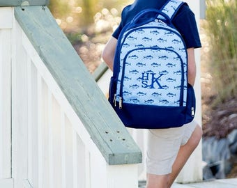 Blue Fish Monogram Backpack | Monogram Book Bag |  Book Carrier | Campus Must Have | Back to School | Birthday Gift | Boy's Book Bag
