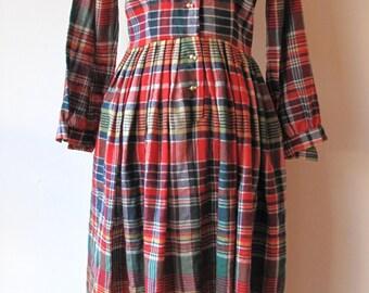 1940s Plaid Dress