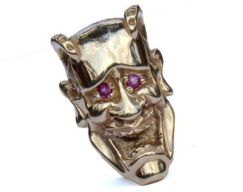 Jewelry, Slide, Pendant, 14k, Gold, Mask, Ruby, Handmade by TigerPawStudios on Etsy