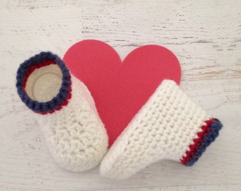 Cute Handmade Crochet Boots -White with Blue and Red Stripe Baby Booties -  0 - 3 Month Size Baby Shoes - Ready to Ship