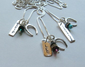 Horseshoe name tag necklace  with Three tags for a Horse Lover- in sterling personalized pet necklace