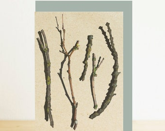 Autumn print, Sticks and twigs forest print blank card with grey recycled envelope, eco friendly nature photography print, recycled card
