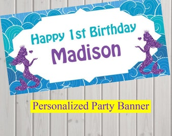 "18""x30"" Under the Sea Mermaid Party Personalized Party Banner 