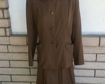 Vintage 40s 50s Designer Tailored Wool Skirt Suit by Frank Gallant J.W. Robinson's Co. Medium
