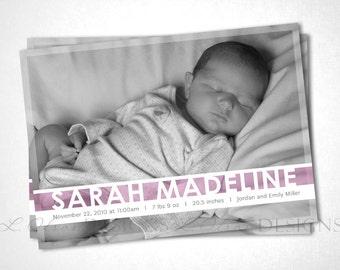 Jewel Stripe Birth Announcement - Pink - DIY Printable
