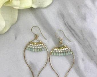 Christina's Earrings, Lotus Shape Hoop, wrapped Gemstone (pyrite, pearl, crystal, amazonite, crystal & moonstone )