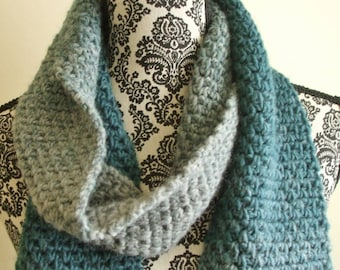 Crochet Scarf in Blue and Gray