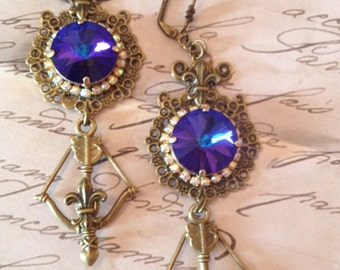 Royal Blue crystal victorian earrings