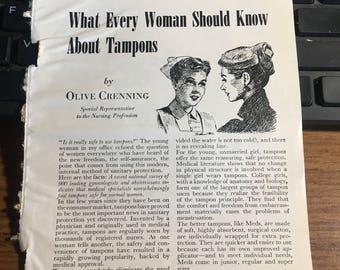 1951 Tampon advice feminine hygiene ad 5 1/2 x 7 1/2.