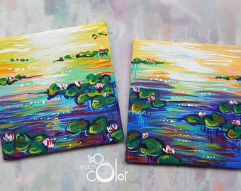 """Waterlilies Magnets - handmade magnets, painted on canvas 2.5x2.5"""""""