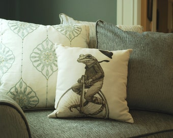 Stylish Penny Farthing Frog Pillow - Frog Art - Animal Print - Home Decor - Animal Pillow - Kids Pillow