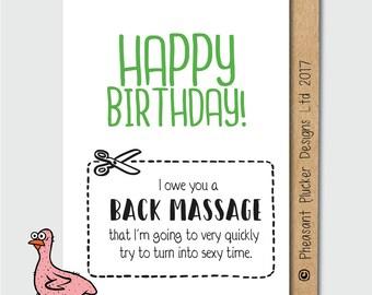 Carte d'anniversaire effronté - Massage du dos