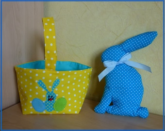 Easter basket with her Bunny to go hunting for eggs