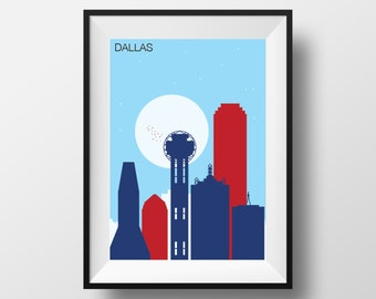 Dallas Skyline print, Dallas art, Dallas artwork, Dallas print, Dallas poster, Dallas illustration, Dallas wall art, Dallas Texas print, art