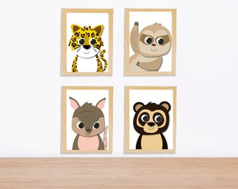 South American animals print for nursery / kid's room
