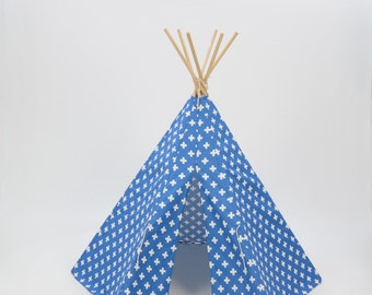 Teepee Play Tent round wood poles included Blue and White Large Cross- 6 panel