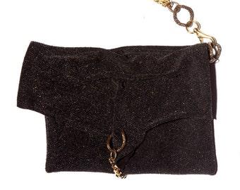ENVELOPE GLITZ  - Leather Glitter Wristlet Clutch w. Golden Chains - Lurex Envelope Purse - Nye Clutch - Black & Bronze