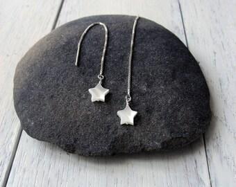 Star Threader Earrings, 925 Sterling Silver, White MOP Star Earrings, White Star Threaders, Modern Needle Threader, Long Chain Earrings