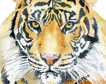 Tiger Watercolor Painting - 4 x 6 - Animal Wildlife - nature art print