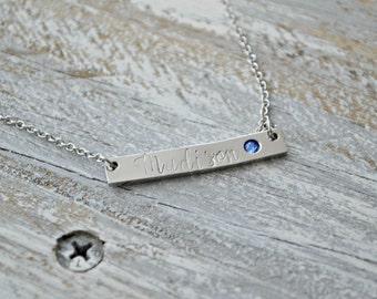 bar necklace, birthstone bar necklace, custom bar necklace, personalized bar necklace, name necklace, birthstone necklace, custom name
