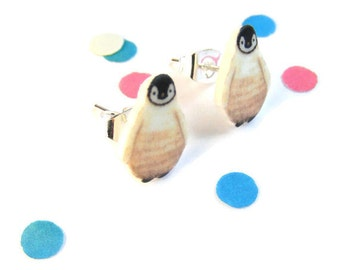 Baby penguin earrings cute winter jewellry