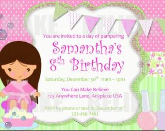 Custom Spa Party Invitation