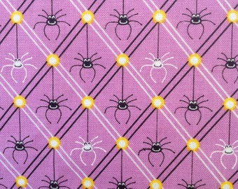 Legend of Webb Hill by Dana Brooks for Henry Glass -  Purple Spider  Halloween  Fabric from the Bolt OOP