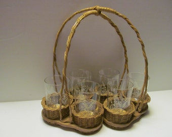 Wicker Drinking Glass Holder Set of 6 Mid Century Glassware Floral white Glassware Drinking Glass Caddy Wicker Decor