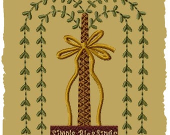 Primitive Machine Embroidery Design-Simple Blessings Willow--Version 1--(4x4)-INSTANT DOWNLOAD