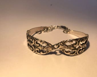 Beautiful Filigree Style Bracelet Made From Vintage Silver Plate Flatware