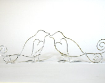 Love Birds Wire Cake Topper, Hearts for Weddings, Anniversaries in Silver - Suspended Moments