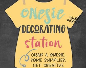 Onesie Decorating Baby Shower Activity 8x10 Printable - DIY Printing INSTANT DOWNLOAD & Vote on Twins Gender Gender Reveal 8x10 Printable DIY