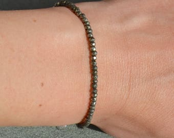 Full wrap in shaded Golden pyrite beads (natural gemstones) bracelet & 925 sterling silver - fine jewelry.